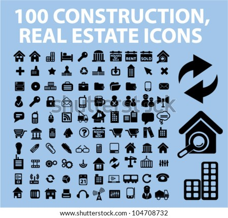 100 construction, real estate icons set, vector - stock vector