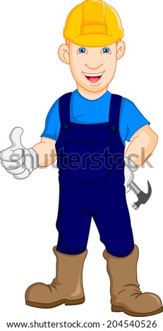 Construction worker repairman thumb up - stock vector