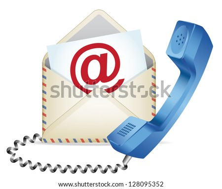 """Contact Us"" icon. Phone receiver and e-mail. EPS-10 - stock vector"
