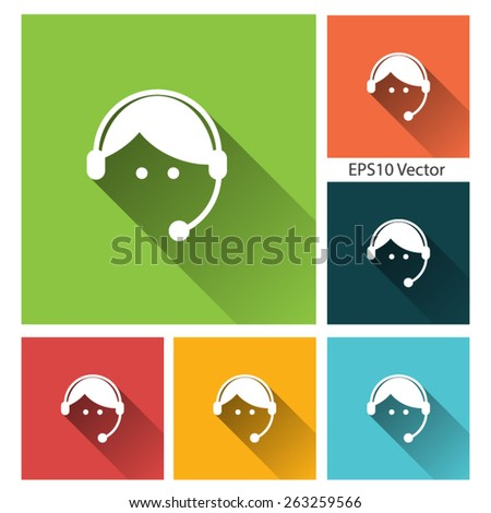 Contact us - icon set - long shadow flat icon set for app and web site. EPS10 vector - stock vector