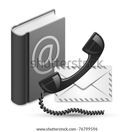 """Contact Us"" vector illustration. Phone receiver, contact book and mail - stock vector"