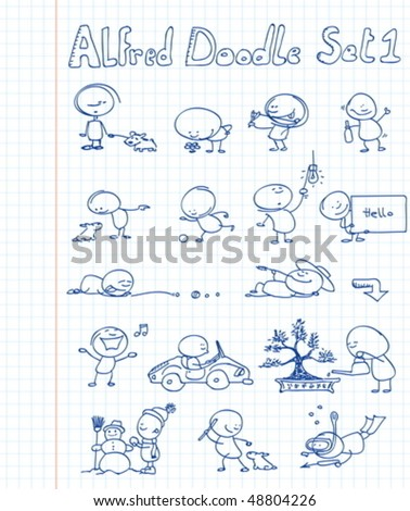 16 cool and funny doodles featuring Alfred Doodle in different situations - stock vector
