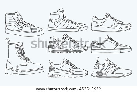 White Line On Blue Paper Blue Print Drawing Shoe