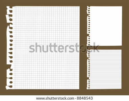 3 copybook paper isolated with clipping path