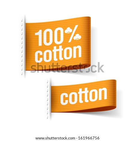 100% cotton product clothing labels. Vector. - stock vector
