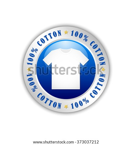 100% cotton T-Shirt badge or icon isolated on white background - stock vector
