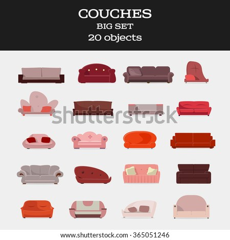 Couches big set isolated vector illustration. Red color. - stock vector