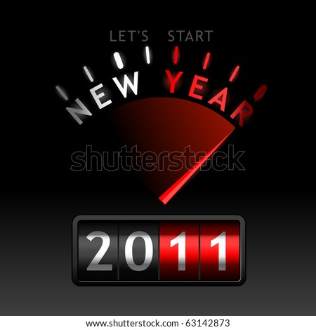 2011 counter on the dashboard - stock vector