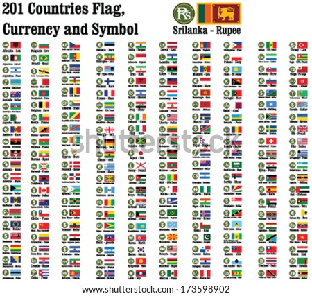 201 countries currency symbols using and representing money and Flags of the counties in the world. - stock vector