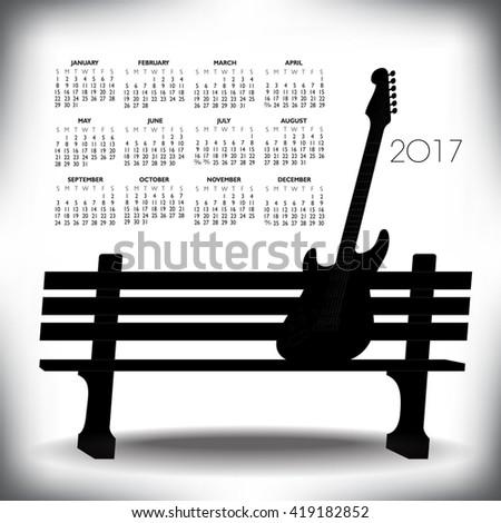 2017 Creative guitar calendar for print or web  - stock vector