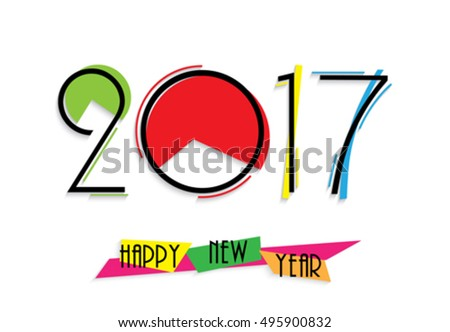 2017 creative numbers design on white background for your new year greetings card, flyers, invitation, posters, brochure, banners, calendar