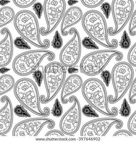 Creative seamless vector paisley pattern with linear hand drawn roses and peacock feathers. Bohemian textile collection. Black and white. - stock vector