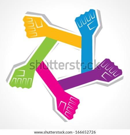 Creative unity hand icon - vector illustration - stock vector
