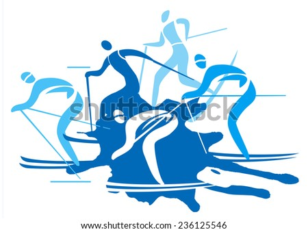 Cross country Skiers. A stylized drawing of cross-country ski competitors.Vector illustration.   - stock vector