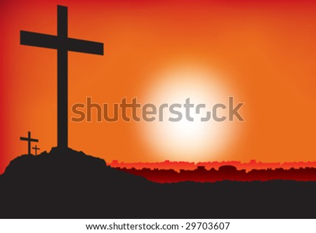 3 crosses on hill at sunset - stock vector