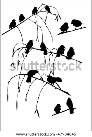 14 crows sitting in a tree. - stock vector