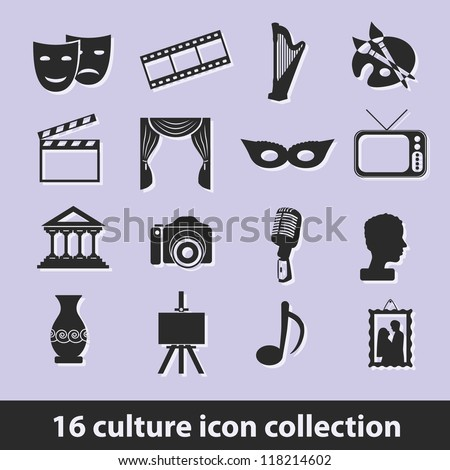 16 culture icon collection - stock vector