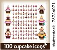 100 cupcake icons - stock vector