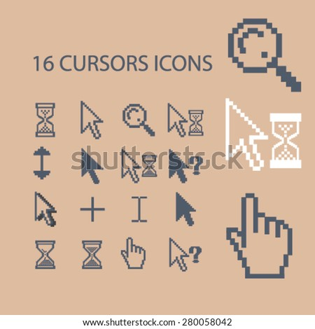 16 cursors icons set, vector - stock vector