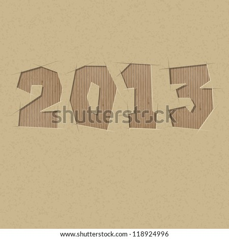 2013 cut out on a cardboard. Vector paper alphabet - stock vector
