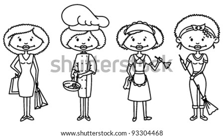 Cute African-American Housewifes (outline version) - stock vector