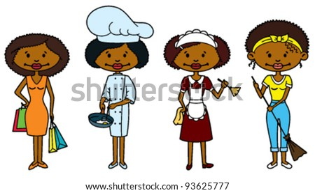 Cute African-American Housewives (color version) - stock vector