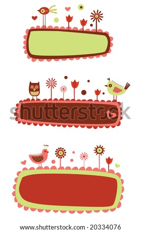3 cute bird and flower banners. Perfect for Valentine's day letters and cards. - stock vector