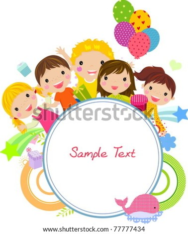 Cute cartoon kids frame - stock vector
