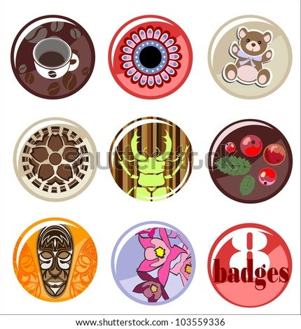 8 cute colorful badges, tags or buttons