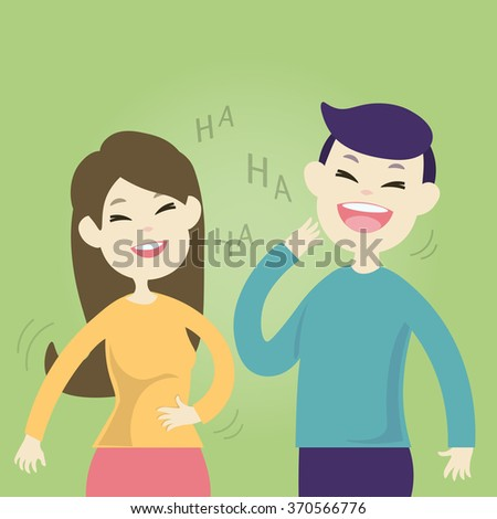 Cute couple laughing together, Vector illustration  - stock vector