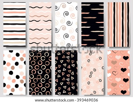 10 Cute different vector seamless patterns (tiling). Wavy lines, swirl, circles, triangles and hearts. Black, white and pink color. Endless texture can be used for printing onto fabric or paper. - stock vector