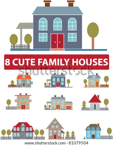 8 cute family houses, icons, signs, vector illustrations - stock vector