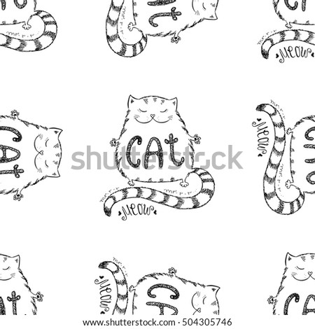 Cute fat cat seamless pattern, funny hand drawn on white background, stock vector illustration