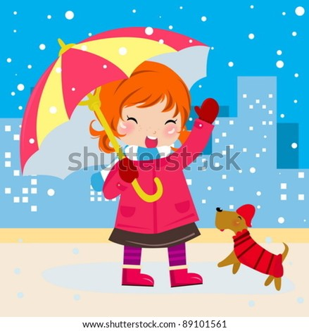 Cute girl and dog - stock vector