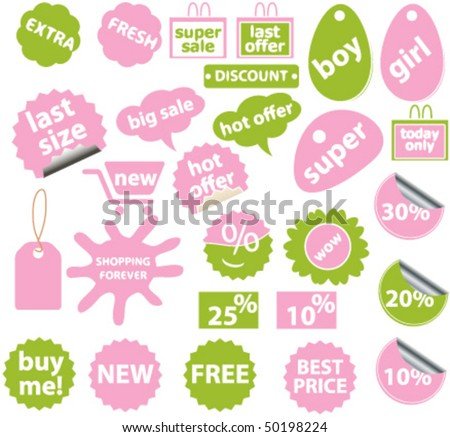 20 cute green-pink shopping stickers. vector