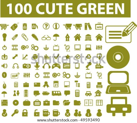 100 cute green signs. vector