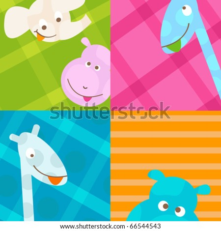 cute little baby animals - stock vector