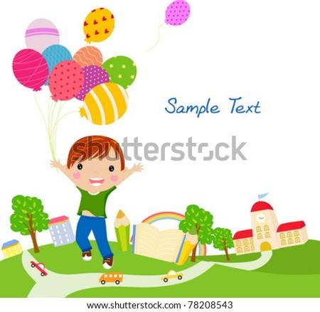 Cute little boy with balloons - stock vector