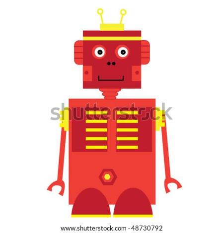 Cute little vector robot - stock vector