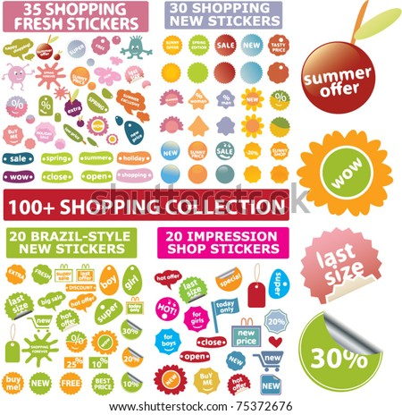 100 cute shopping signs, stickers, labels, vector - stock vector