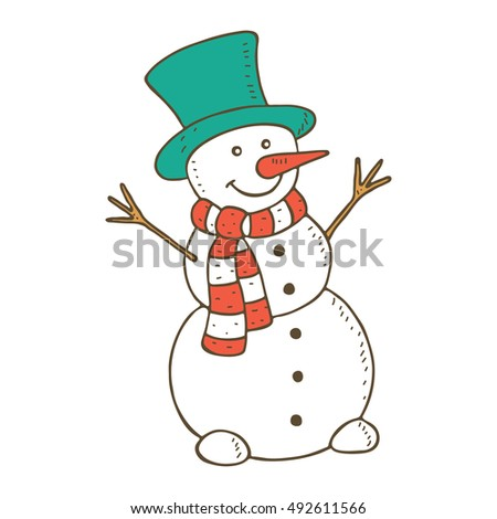 Cute smiling snowman. Vector illustration