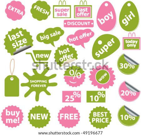 20 cute spring shopping stickers. vector