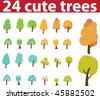 24 cute trees. vector - stock vector