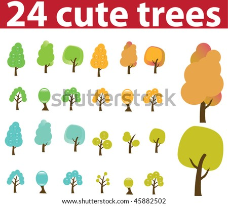 24 cute trees. vector