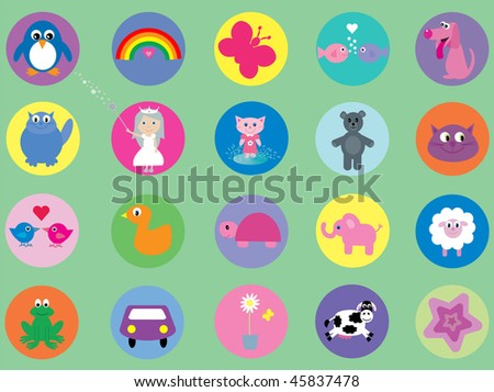 20 cute vector icons for kids - stock vector