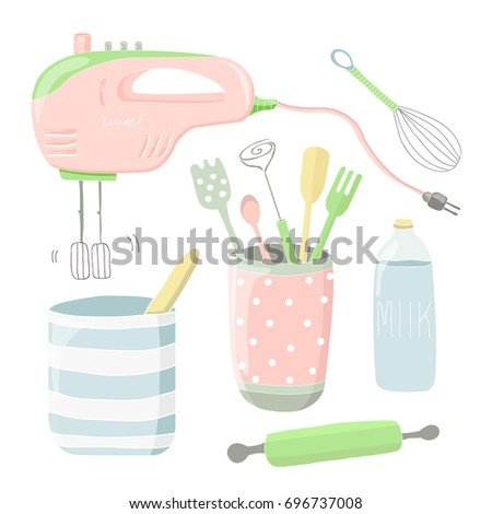 Cute Vector Illustration With Kitchen Tools Cartoon Appliances