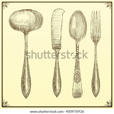 Cutlery set. Doodle style - stock vector