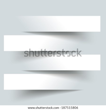 4 cutting banners on the grey background. Eps 10 vector file. - stock vector