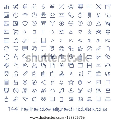 144 cutting edge modern icons for mobile interface. Fine line pixel aligned mobile ui icons with variable line width. - stock vector