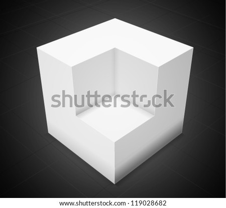 3d abstract background,white cube on black background with grid - stock vector